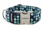 Collar Cyan Dots with metal buckle