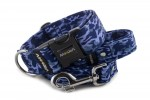 Collar Camouflage Blue with a leash