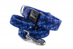 Collar Digital Blue with a leash