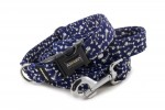 Leash Fishbone Blue with the collar