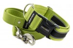 Collar Reflex Lime Green II with a leash