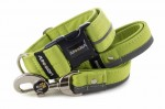 Collar Reflex Lime Green I with a leash