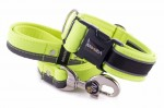 Collar Reflex Neon Yellow II with a leash