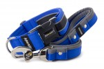 Collar Reflex Royal Blue II with a leash