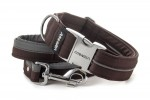 Collar Reflex Wood Brown I with a leash