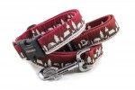 Collar Winter Village Red with a leash